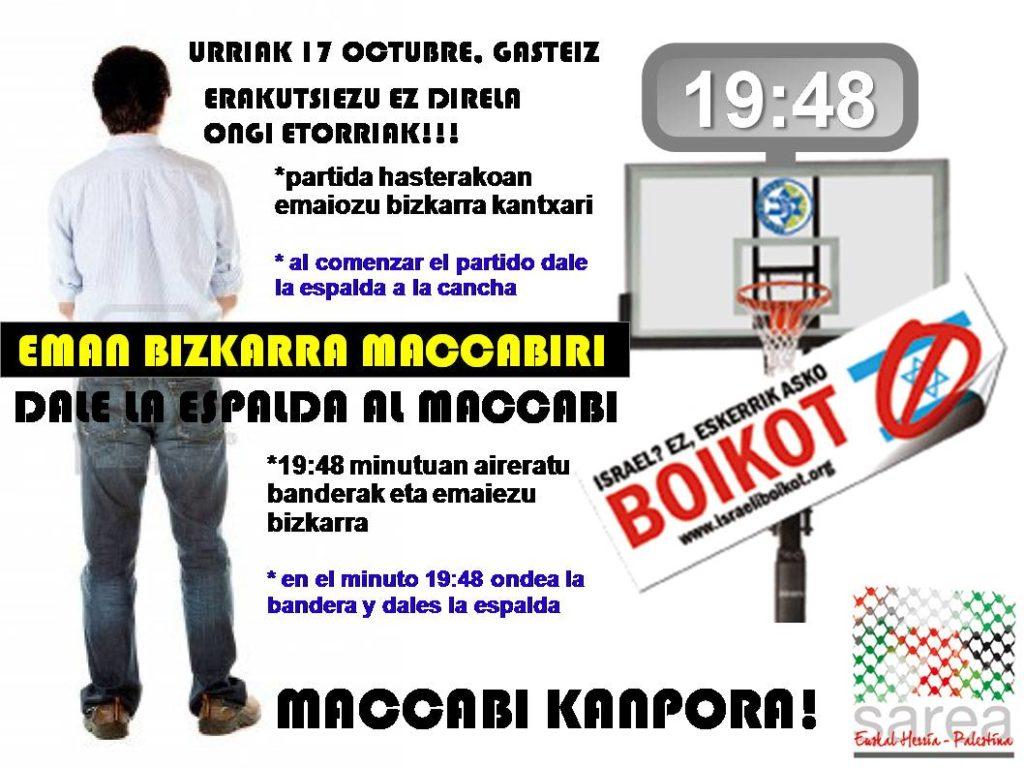 Uhintifada 156: El Maccabi de Tel Aviv de nuevo en Euskal Herria. Démosle la espalda.