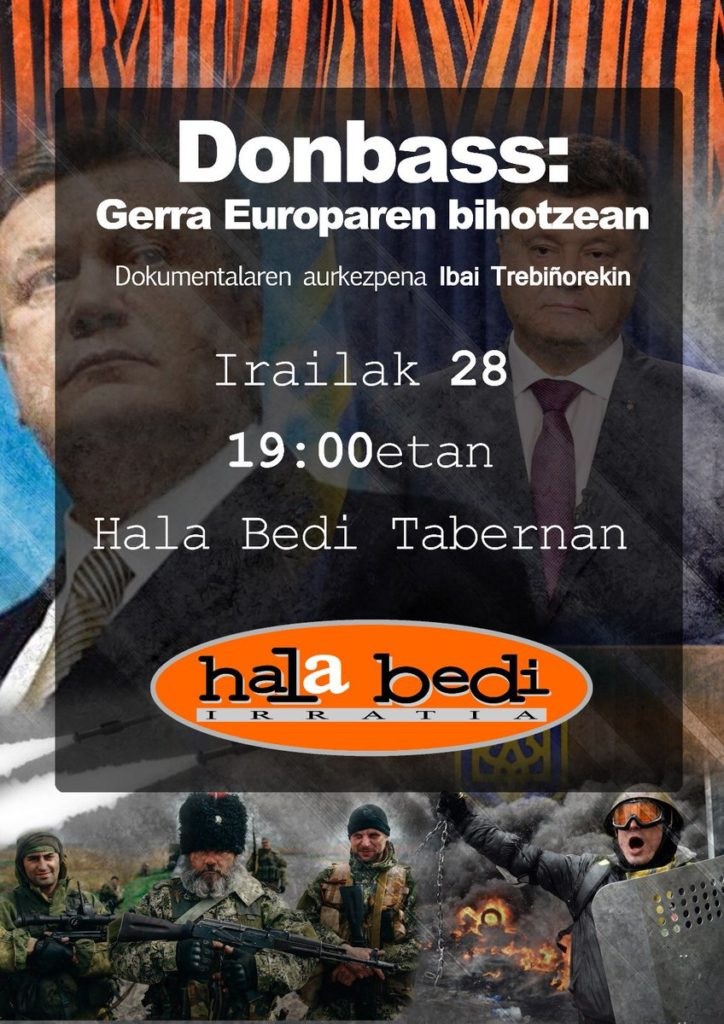 """""""Donbass: Gerra Europaren bihotzean"""" dokumentala irailaren 28an Hala Bedi Tabernan"""
