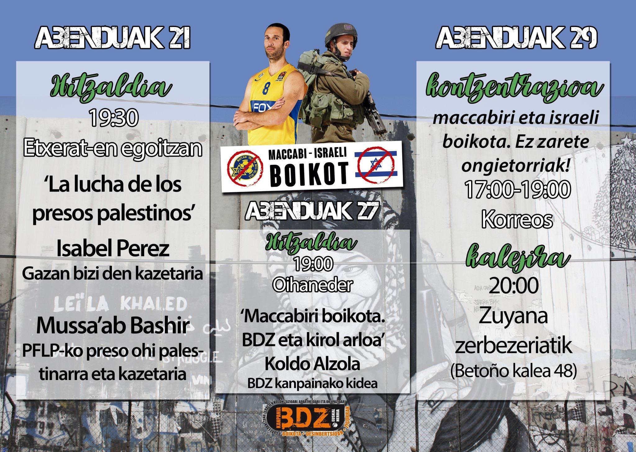 Ekimen  ezberdinak  antolatu  dituzte  BDZ  kanpainaren  baitan,  Maccabi  Tel  Aviv  taldearen  bisitaren  harira