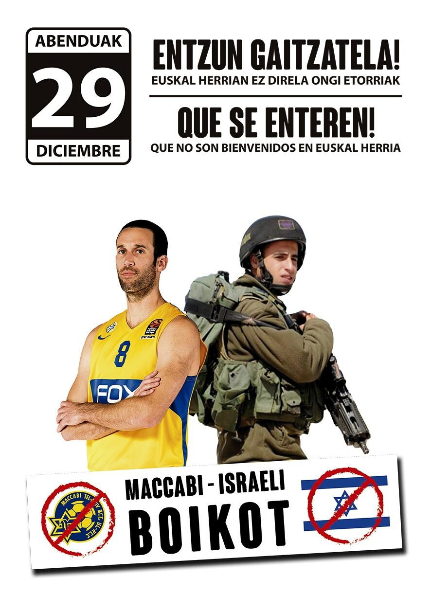 Una  vez  más,  Gasteiz  repudia  la  visita  del  Maccabi  de  Tel  Aviv.