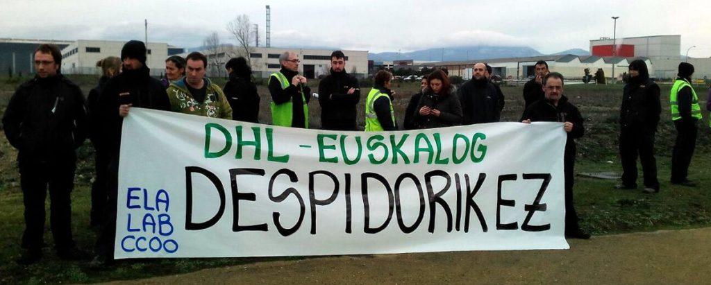 Gaixotasun baja hartzeagatik Aguraingo DHL Euskal Log enpresatik langile bat kaleratu dute