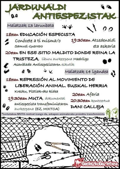 """Cris (Jornadas antiespecistas en el Gaztetxe): """"Hay que socializar el antiespecismo"""""""
