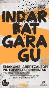 'Indar bat gara gu': este 6 de mayo jornada de encuentro de Bilgune Feminista en Berriozar.