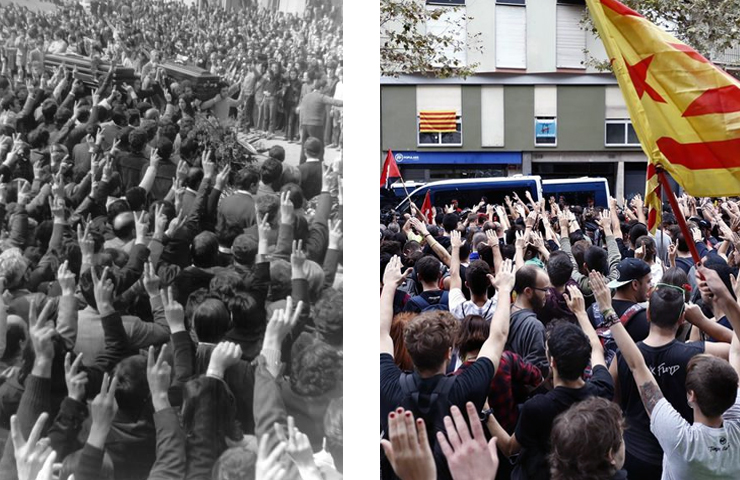 """Gasteizen 1976an zein Katalunian 2017an, erregimena arriskuan ikustean Estatuak berdin erantzun du: """"A por ellos"""""""