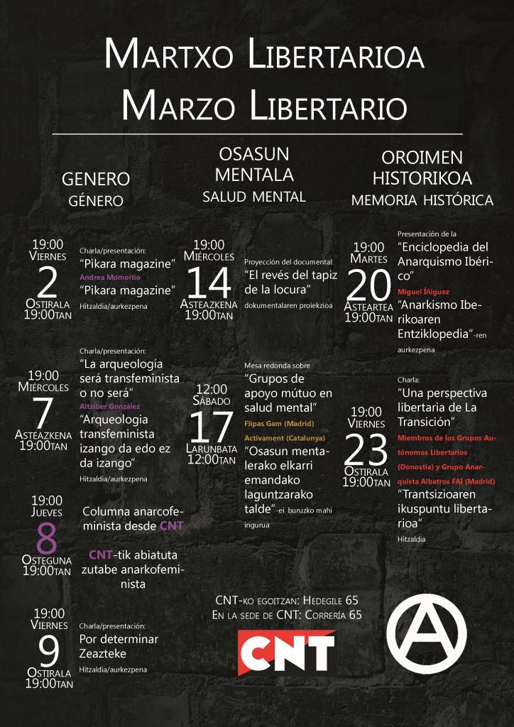 """""""Martxo libertarioa"""" jarduera-zikloa antolatu du Gasteizko CNTk"""