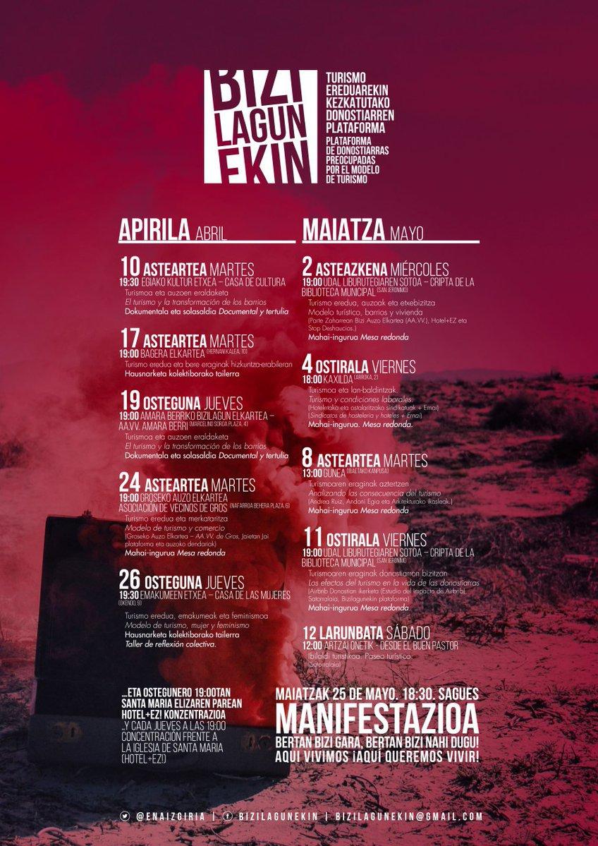 """""""Bizilagunekin"""" plataforma sortu dute Donostian, turismo-ereduak bertakoengan duen eraginarekin kezkatuta"""
