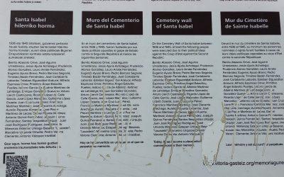 Atacan la placa que recordaba a las 33 personas fusiladas por el franquismo en el cementerio de Santa Isabel