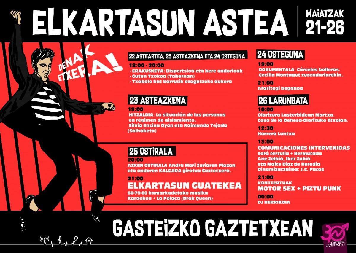 """""""Presoen auzia sozializatzea"""" lortu nahi dute Gaztetxeko Elkartasun Astean"""