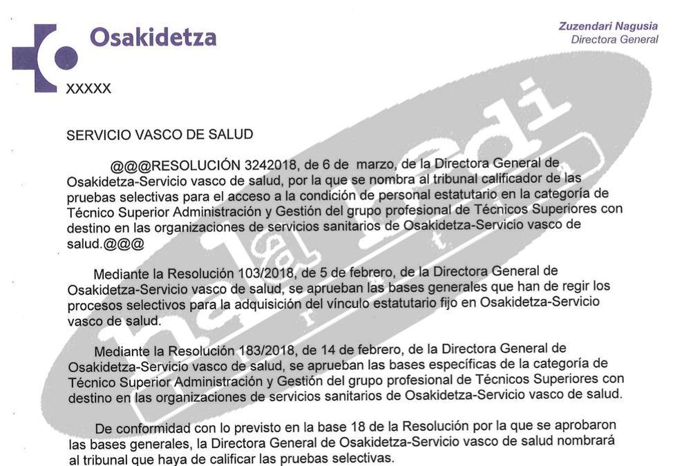 La subdirectora de Recursos Humanos presidirá el tribunal de una OPE en Osakidetza