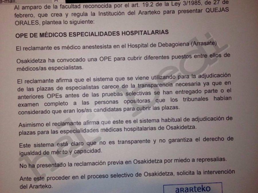 El Ararteko tenía constancia oficial de las irregularidades en la OPE de Osakidetza desde abril