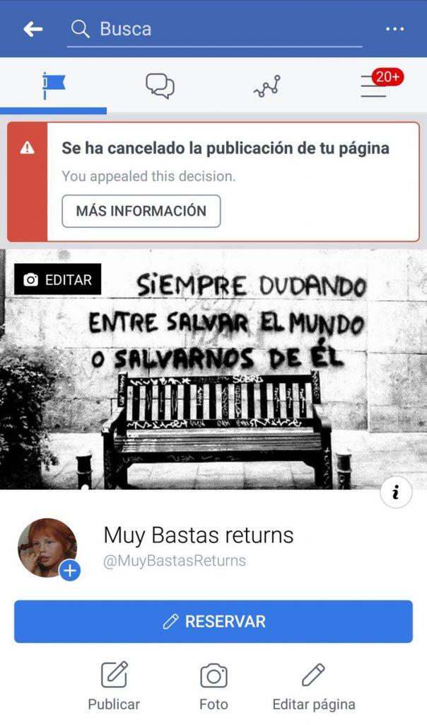 Muy Bastas-en orrialdea itxi du berriz ere Facebookek