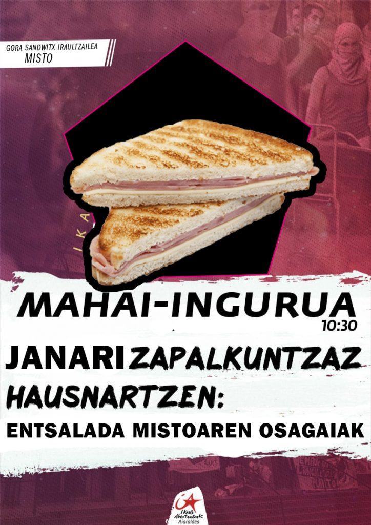 Ikasle Abertzaleak-ek sandwitx eta entsalada mistoak baino ez ditu eskainiko aurrerantzean txosnetan