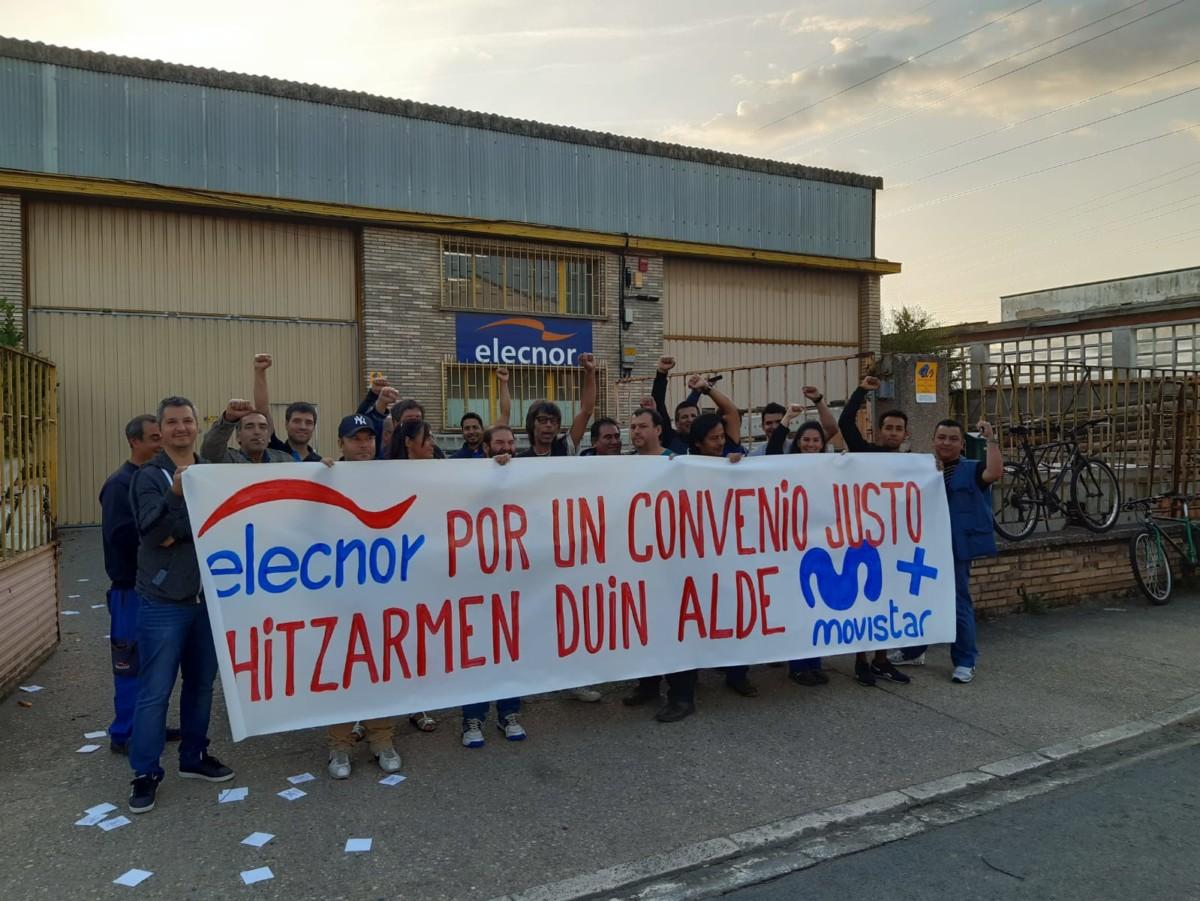 Primer día de huelga de los trabajadores de Elecnor Telecomunicaciones