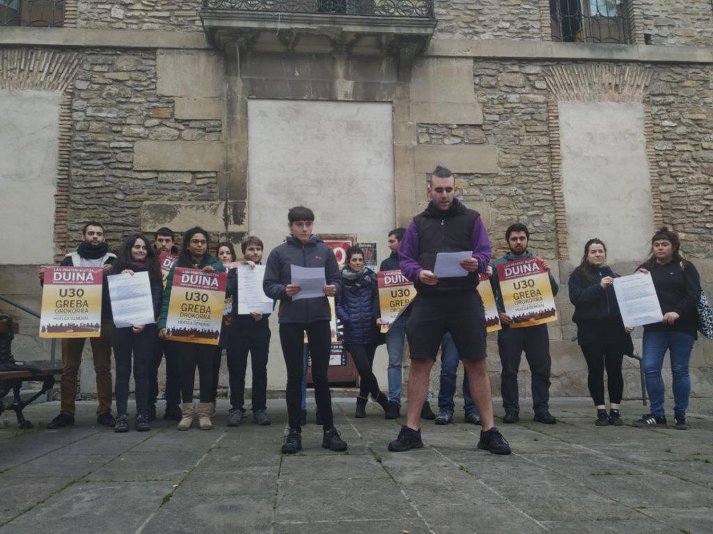 Euskal Herriko gazte eta ikasle eragileek urtarrilaren 30eko Greba Orokorrera batzeko deia egin dute