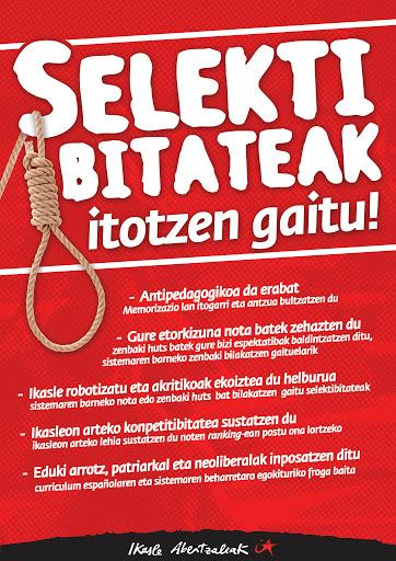Endika eta Oitia (Ikasle Abertzaleak): «Selektibitatearen funtzio soziala da langileak formatzea etorkizuneko interes burgesei erantzuteko»
