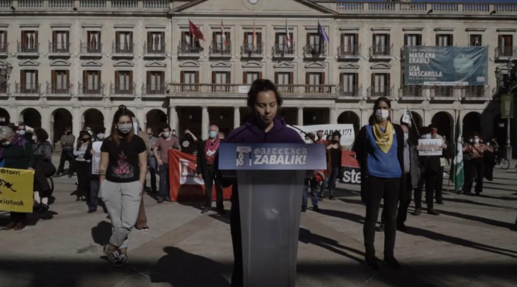 HALA BIDEO | Gaztetxea zabalik nahi duela aldarrikatu du Gasteizko Herri Mugimenduak