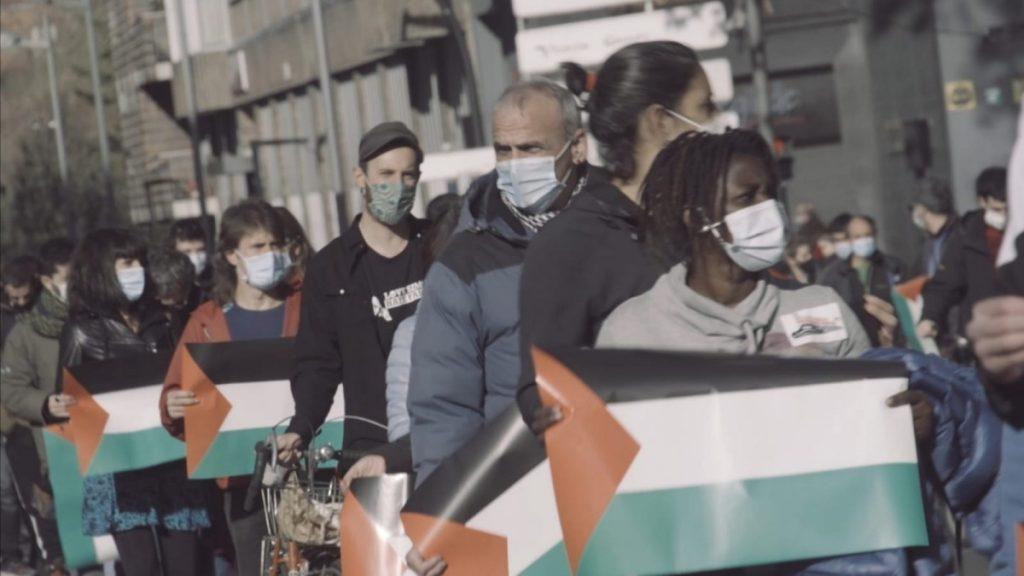 HALA BIDEO | CAF enpresak Palestinan eraiki behar duen trenaren aurka mobilizatu dira Gasteizen