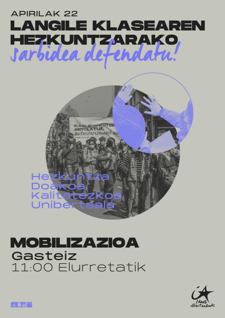 Ikasle Abertzaleak-ek mobilizazioak deitu ditu Apirilaren 22rako