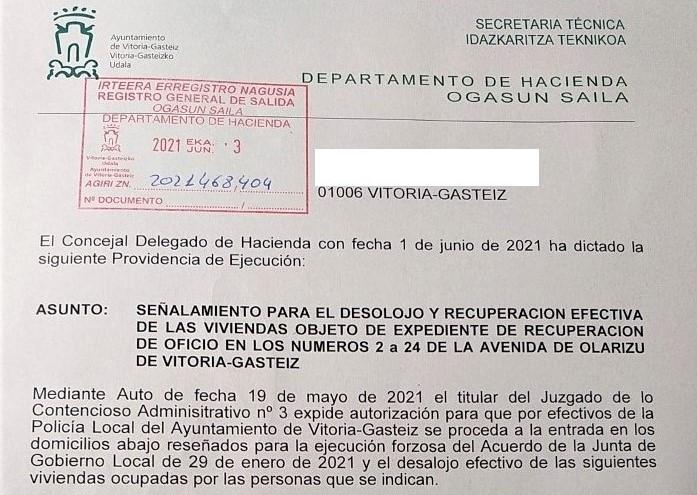 STOP Desahucios denuncia que el 8 de junio el Ayuntamiendo desahuciara en viviendas vacias de Olarizu a personas sin alternativa habitacional