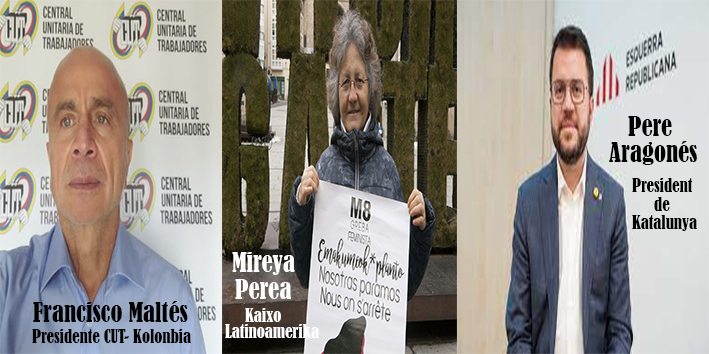 Kaixo Latinoamerika-29 DE MAYO 2021, Pere Aragonés president Katalunya, Idoia Zalbide Petronor, Francisco Maltés-CUT, Mireya Perea, Performance