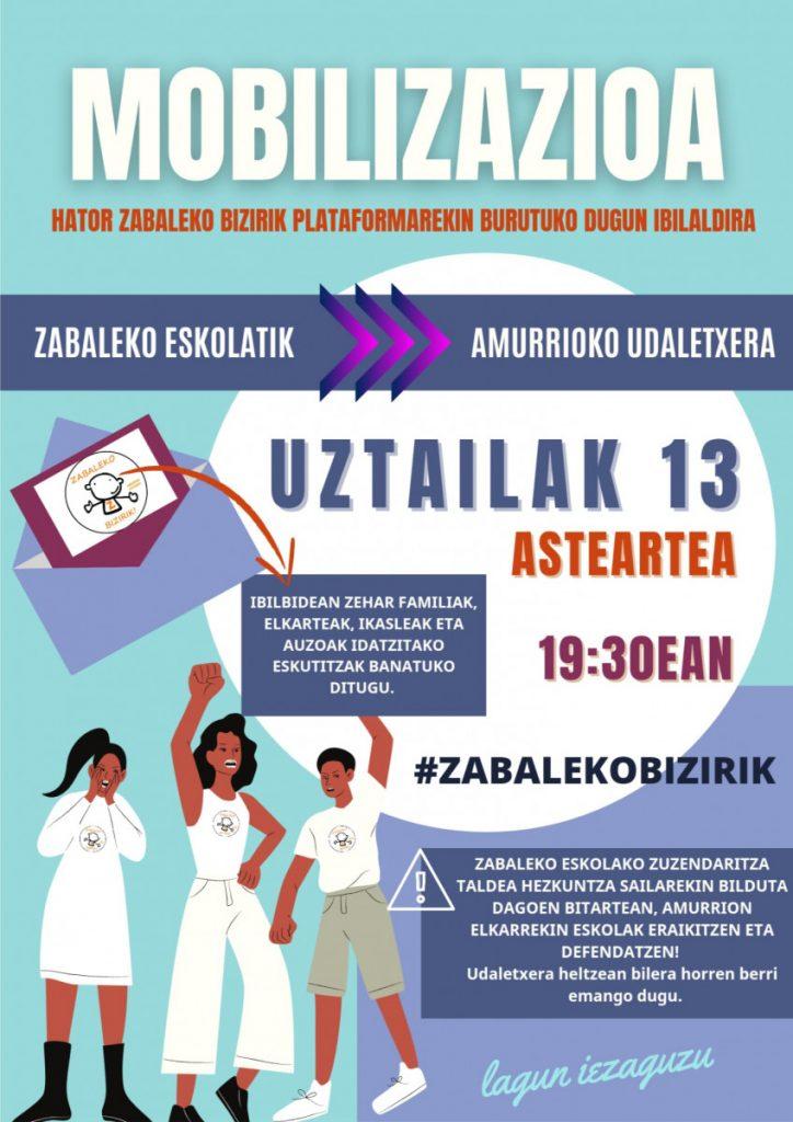 Zabaleko Bizirik! plataformak mobilizazioa egingo du asteartean