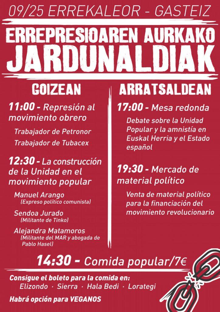 El Comité Solidario de Gasteiz celebra Jornadas Antirrepresivas